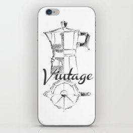 Coffee pot blueprint sketch iPhone Skin