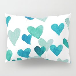 Valentine's Day Watercolor Hearts - turquoise Pillow Sham