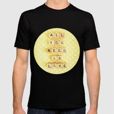 All You Need Is Love MEDIUM Black Mens Fitted Tee