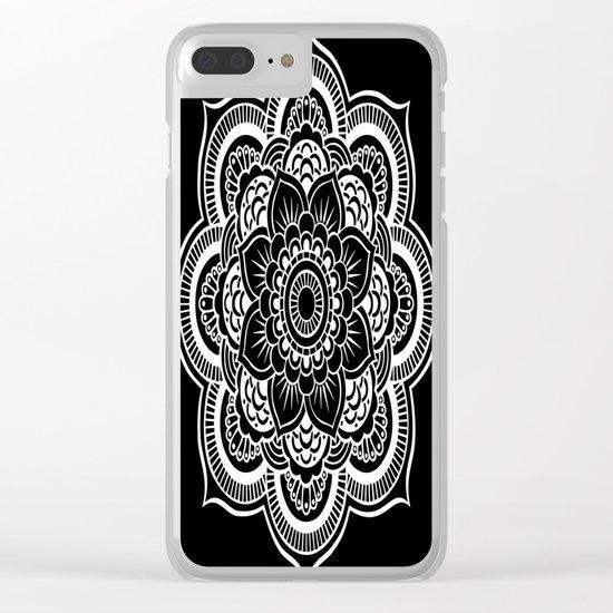Mandala Black & White Clear iPhone Case