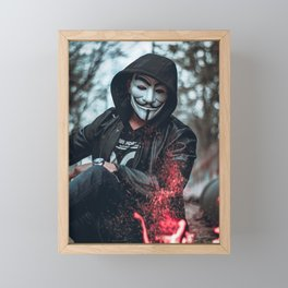 person-wearing-guys-fawkes-mask Framed Mini Art Print