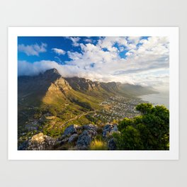 Table Mountain at sunset seen from the Lion's Head, Cape Town   South Africa travel photography Art Print