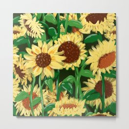 Seamless pattern summer mood sunflowers Metal Print