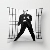 elvis presley Throw Pillows featuring Elvis Presley by Neon Monsters