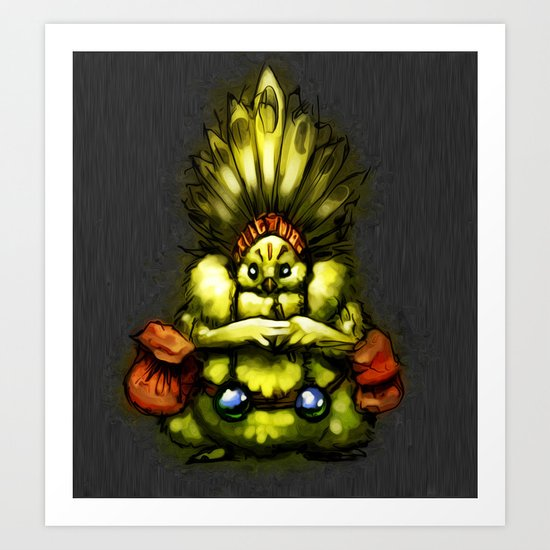 Chief Sitting Feather Art Print