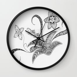 Floral Zentangle Wall Clock
