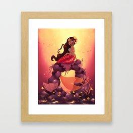 Mermaid With Flower Top Framed Art Print