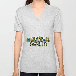 Berlin Over A Dark Rainbow Unisex V-Neck