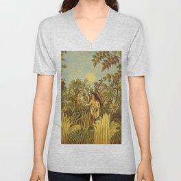"""Henri Rousseau """" Eve in the Garden of Eden"""", 1906-1910 Unisex V-Neck"""