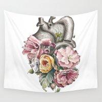 anatomy Wall Tapestries featuring Floral Anatomy Heart by Trisha Thompson Adams