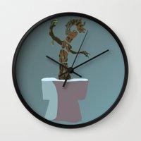 groot Wall Clocks featuring baby groot by pokegirl93