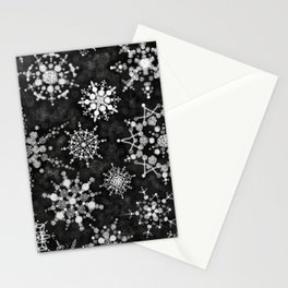 Gray Snowflakes Stationery Cards