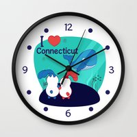 coraline Wall Clocks featuring Ernest and Coraline | I love Connecticut by Hisame Artwork
