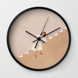 Girl Thinking on a Stairway Wall Clock