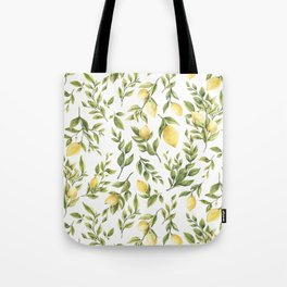 Bright Yellow Watercolor Lemons and Leaves Tote Bag