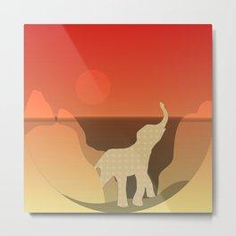 Underwater Elephant Scene Design Metal Print