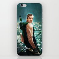 green arrow iPhone & iPod Skins featuring Arrow by Meder Taab