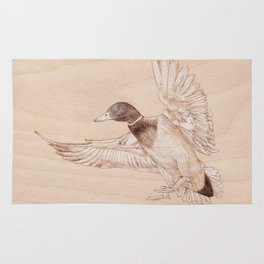 Duck Portrait - Drawing by Burning on Wood - Pyrography Art Rug