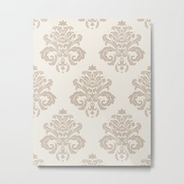 Vintage Floral Damask Pattern – Neutral Tan Brown and Gray Metal Print