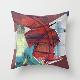 Scarlet Red Abstract Collage Throw Pillow