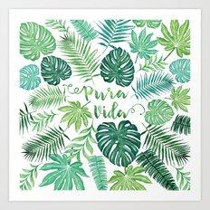 Tropical Pura Vida Palm Leaves and Monstera Watercolor Art Print