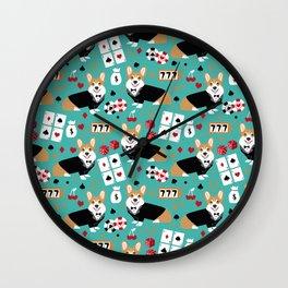 Corgi blackjack poker night dog breed pet art tuxedo red welsh corgi Wall Clock