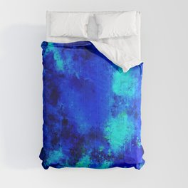 psychedelic color gradient pattern splatter watercolor blue Comforters