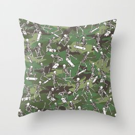 Grim Ripper Skater Camo WOODLAND GREEN Throw Pillow