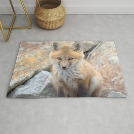 Watercolor Fox, Red Fox 44, Union Reservoir, Boulder County Rug