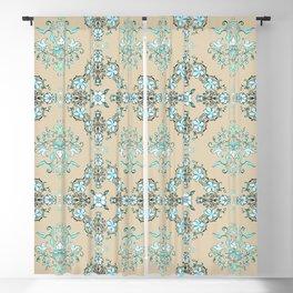 Vintage Floral - Light Blue Blackout Curtain