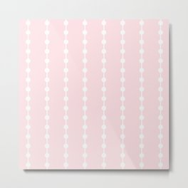 Geometric Droplets Pattern Linked - Pastel Pink and White Metal Print