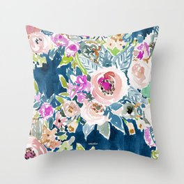 NAVY SO LUSCIOUS Colorful Watercolor Floral Deko-Kissen
