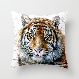 Tiger watercolor Throw Pillow