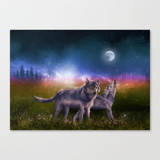 wolf and sky Canvas Print