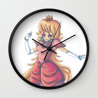 princess peach Wall Clocks featuring Princess Peach by Christine Tribou