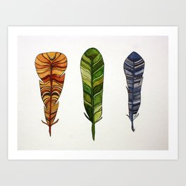 Feather Trio Art Print