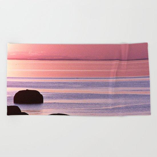 Lines in the Sea Beach Towel
