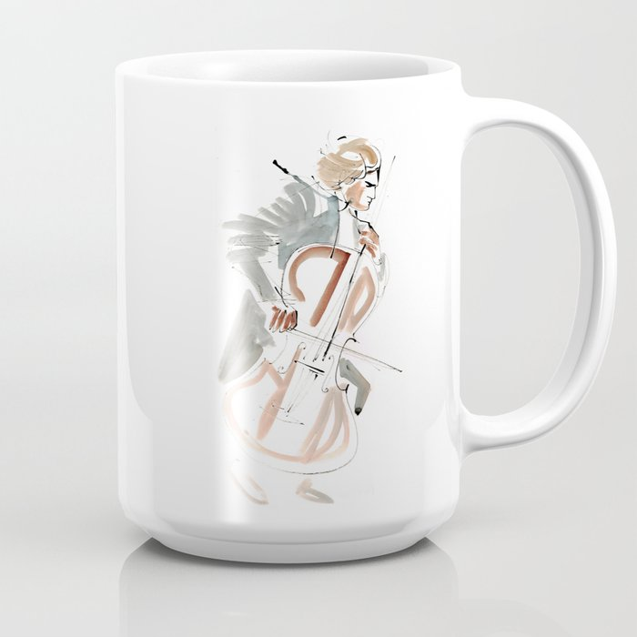 Cello Player Musician Expressive Drawing Coffee Mug