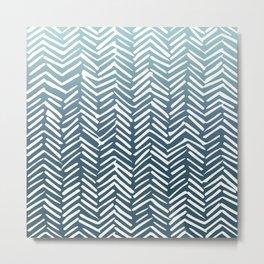 Geometric Art, Herringbone, Mudcloth, Turquoise, Teal, Boho Art Metal Print
