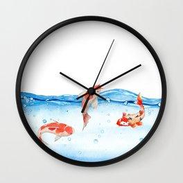 Happy koi fish- fishes sea water lake Wall Clock