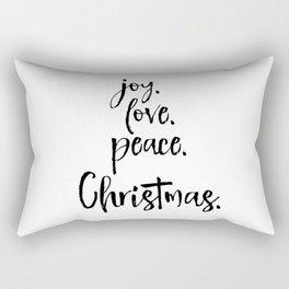 Joy.Love.Peace.Christmas. Typography Rectangular Pillow