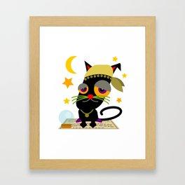 Halloween Black Cat Cartoon Framed Art Print