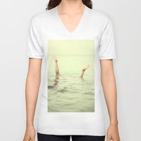 submarine V-neck T-shirts featuring submarine 2 by Gordon Chalmers