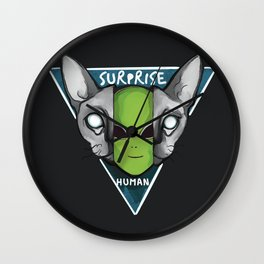 Cats are aliens ufo surprise human Wall Clock