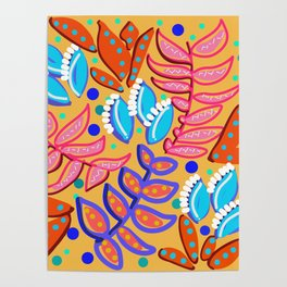 Whimsical Leaves Pattern Poster