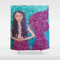 fitzgerald Shower Curtains featuring Cordelia Fitzgerald the Mermaid by inara77