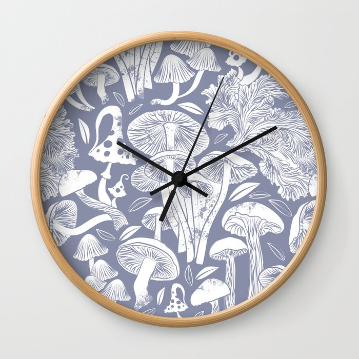 Delicious Autumn botanical poison IV // blue grey background Wall Clock