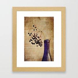 Berries in Cobalt Framed Art Print