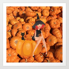 Halloween Witch and Pumpkins Art Print