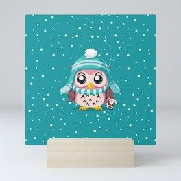 Cute Owl And The Snowball Mini Art Print